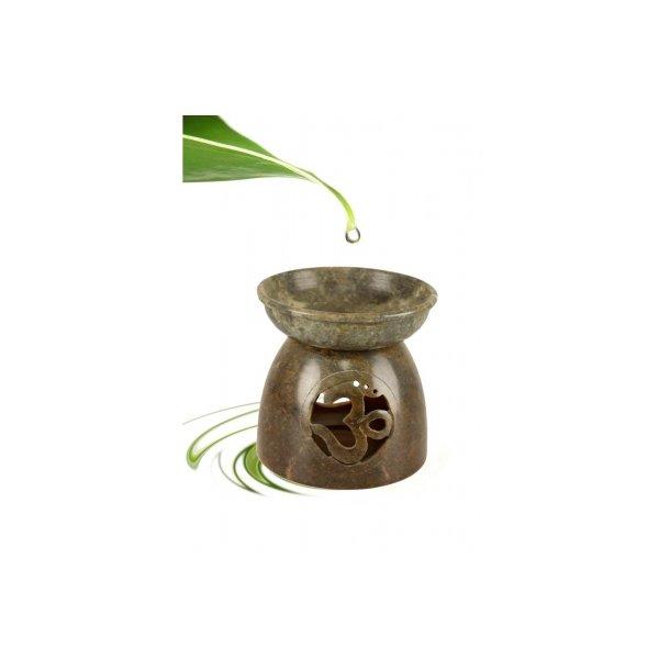 Aromaterapilampe i poleret fedtsten med OHM symbol
