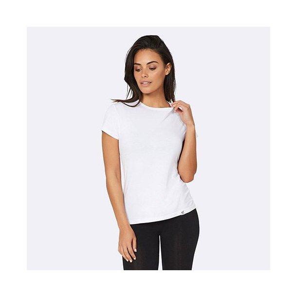 Boody Eco Wear Dame T Shirt med rund hals Hvid